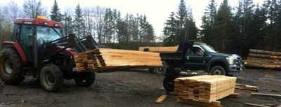 Forklift Load of Lumber in Moncton